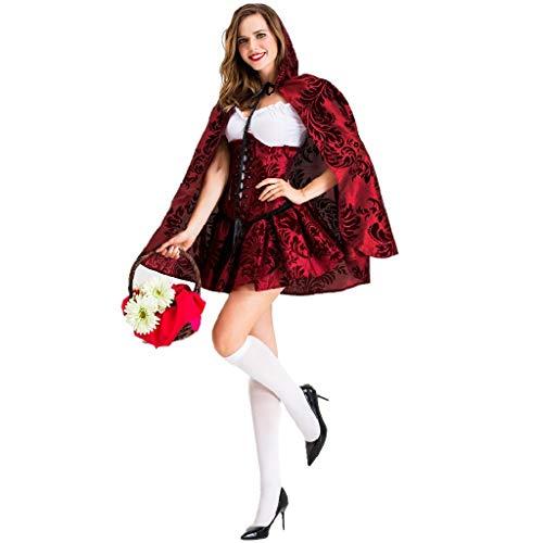TcooLPE Frauen Rotkäppchen Kostüm Halloween Weihnachtsfeier Rolle Spielen Erwachsene Cosplay Kleid Kostüm for Frauen Rotkäppchen Cosplay Halloween Karneval (Size : L)