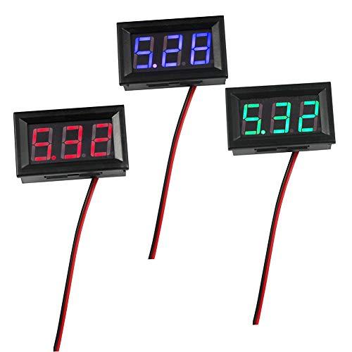 Preisvergleich Produktbild WayinTop 3 stuks mini digitale DC voltmeter meter meetapparaat tester LED-display 0, 56 inch meetbereik DC 4, 5V-30V spanningsmeter twee draad met ompolingsbeveiliging (rood + groen + blauw)