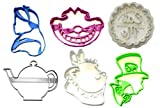 ALICE IN WONDERLAND TEA POT WHITE RABBIT MAD HATTER CHESHIRE CAT EAT ME DESSERT TREAT TEAPOT SET OF 6 COOKIE CUTTERS 3D PRINTED MADE IN USA PR1266