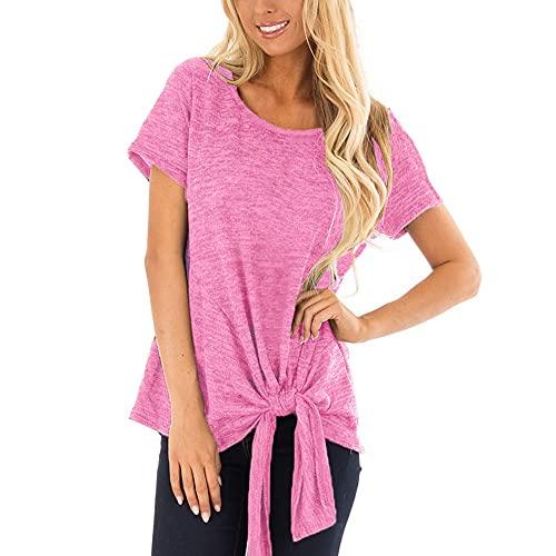 Camisetas Mujer Tops Largos Manga Corta Manga Mujer Tops Casual Suelta Mujer Tops Diseño De Color Sólido Tops Verano Mujer Bluse E-Pink M
