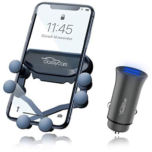 CLASSYCARS 2 in 1 Porta Cellulare da Auto Universale e Caricatore Auto USB Accendisigari. Supporto Smartphone per Auto Automatico e Caricabatteria USB Auto Accendisigari USB Fast Charge