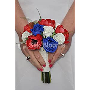 Red, White & Blue Fresh Touch Anemones & Roses Mini Posy Bridesmaid Wedding Bouquet
