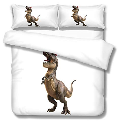 BHFCBD Duvet Cover Bedding Bed Set 100% Microfiber Cartoon Animal Dinosaur Pattern 3 Pcs With Pillowcases Easy Care Soft Quilt Cover Set - Hotel Quality - Wrinkle And Fade Resistant - 260X230Cm