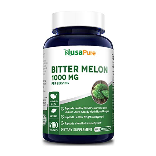 Bitter Melon Extract 1000mg 180 Veggie Caps (Non-GMO & Gluten Free) Supports Blood Pressure and Blood Sugar Already in The Normal Range