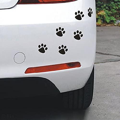 かわいい 犬 猫 肉球 足跡 ステッカー カッティング 傷隠し 防水 スノーボード サーフィン 転写 足跡 おしゃれ シール 車 バイク キズ消し 目印 ヘルメット 6個セット 4cm (黒)