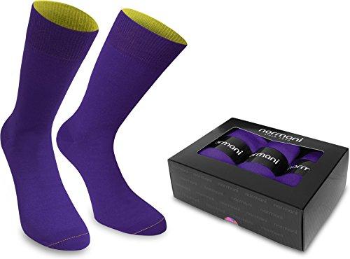 normani 3 Paar Bi-Color Socken für Herren & Damen - Baumwolle - farbig abgesetzter B& Farbe 3er Box - Lila/Limette Größe 47/50