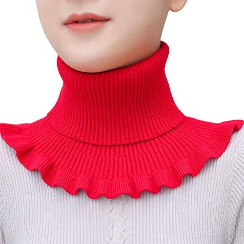 MNSYD Gestrickter Fake Collar Sweater Hoodie High Neck Mock Collar Abnehmbarer Rollkragenpullover für Damen Mädchen Kleidung Zubehör,Red