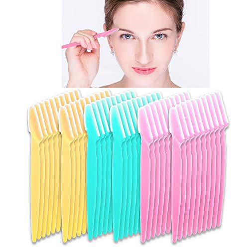 60 Pcs Eyebrow Razor BEoffer Eye Brow Trimmer Shaver Facial Face Hair Remover Exfoliating Dermaplaning Tool Kit Stainless Steel Blades with Cap Eyebrow Shaper for Women Men Makeup (Pink Blue Yellow)