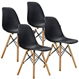 VECELO Mid Century Side Chairs with Natural Wood Legs (Set of 4),Easy Assemble for Kitchen Dining, Living Room,Bedroom, Dark Black