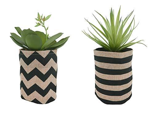 Línea Déco | Lote de 2 Succulentes artificiales a juego + bolsas de yute con motivos gráficos | 26 cm | Planta verde artificial | Planta grasa | Decoración de interior | casa oficina