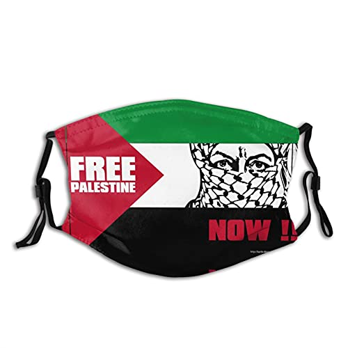 Tamdy Free Palestine Now Face Mask with 2 Pcs Filters Palestine Gaza Freedom Balaclava Bandana Adjustable Washable Mouth Shield