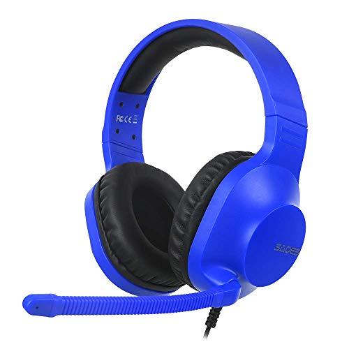 SADES - Fones de ouvido estéreo para jogos - fones de ouvido com microfone com redução de ruído e controle remoto para computadores PC Laptop PS4 Novo Xbox One Tablets, Azul