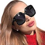 MuJaJa Square Oversized Polarized Sunglasses for Women UV Protection, Classic Vintage Big Fashion Frame Ladies Shades(Black with Gradient Grey)