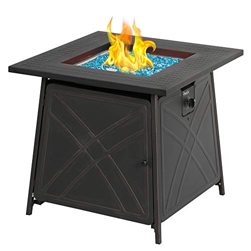BALI OUTDOORS Firepit LP Gas Fireplace 28' Square Table 50,000BTU Fire Pit, Black