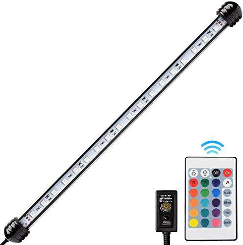 NICREW RGB LED Acquario, 38CM Lampada Acquario Multicolori, Luce Acquario a Tubo Impermeabile e Sommergibile, 4W