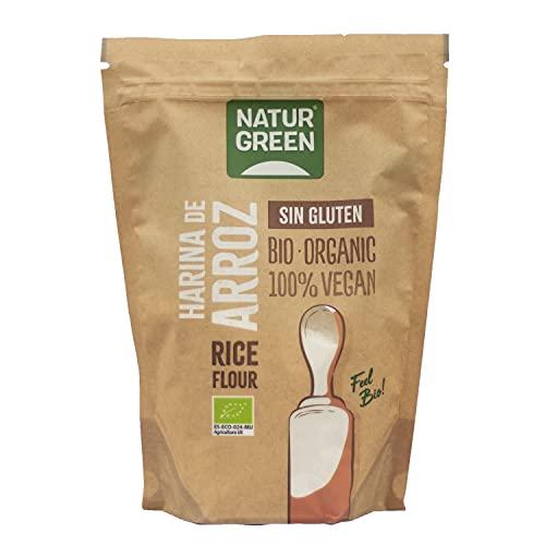 NaturGreen - Harina de Arroz, Arroz Blanco Molido, Ecológico, Condimento Bio, 100% Vegano, Sin Gluten - 500 g