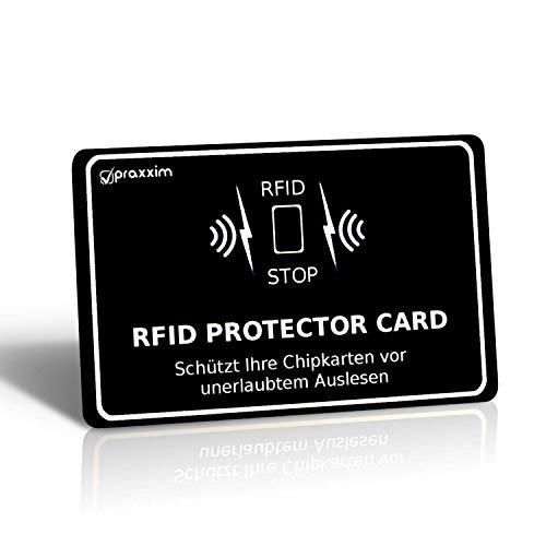 praxxim RFID Blocker Karte in schwarz/weiß – Störsender bietet RFID Schutz gegen das Auslesen von Kreditkarten – Eine RFID Karte sichert die ganze Geldbörse – Ideale Alternative zur NFC Schutzhülle