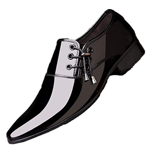 Scarpe Eleganti da Uomo Oxford Scarpe da Uomo in Pelle Verniciata Slip on Mocassini Piatti Scarpe Eleganti da Cerimonia a Punta