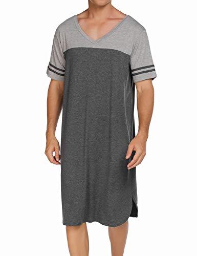 Ekouaer Mens Cotton Nightgown Pajamas Short Sleeve Sleepwear V Neck Nightshirt Soft Raglan Sleep Shirt(M.Grey Textile, XXX-Large)