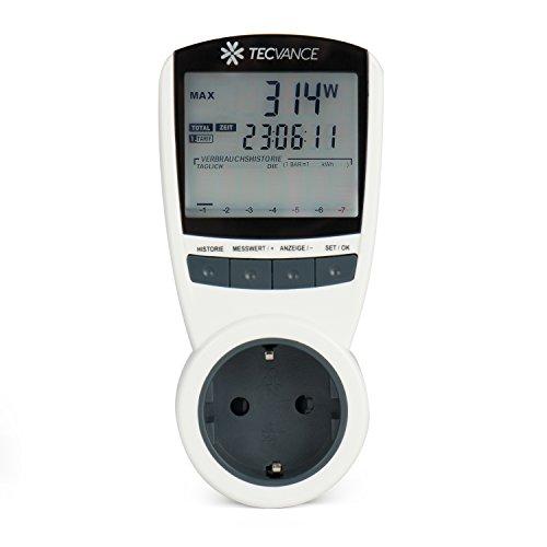 Tecvance Energiekostenmessgerät / Stromkostenmessgerät / Stromverbrauchszähler - Anzeige von Energieverbrauch in Wattstunde (kWh)