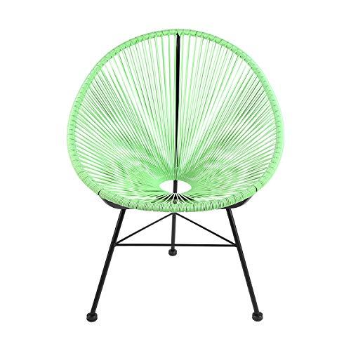 Retro Acapulco Lounge Relax Sessel Rahmen & Füße Pulverbeschichtet Indoor & Outdoor Mint GRÜN Gestell SCHWARZ