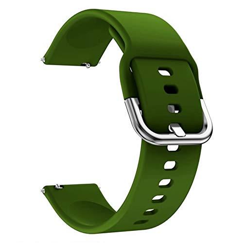 KingbeefLIU Correa de reloj de repuesto de silicona resistente al agua para IMILAB KW66 verde ejército