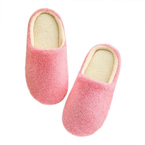 LUOEM Zapatillas de Estar por Casa Mujer Invierno Pantuflas Zapatillas Peluche Algodón Suave Rosa