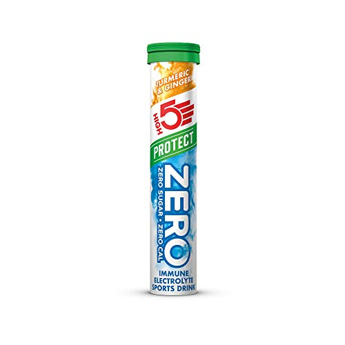 HIGH5 Zero Protect Electrolyte Hydration Tablets Added VIT C & D (Turmeric & Ginger, 20 Tablet Tubes)