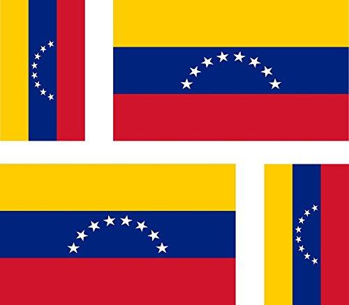 Akachafactory Stickers voor auto, motorfiets, koffer, PC, draagbaar, vlag Venezuela, 4 stuks