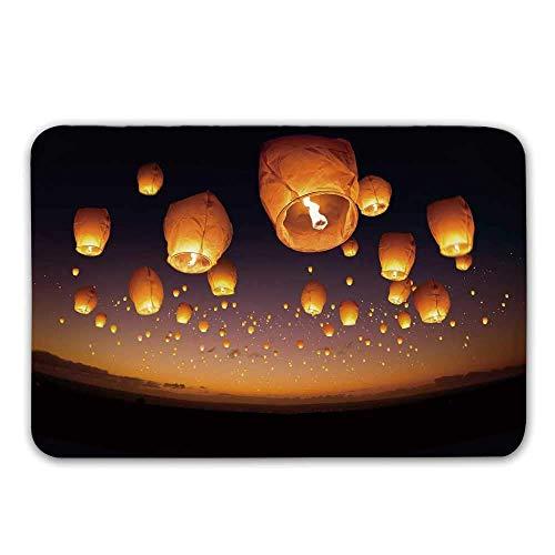 AoLismini Rutschfester Eingangsgummiteppich Night Sky, asiatische Zeremonie Wish for Luck Balloons Chinesische Fliegende Laternen-Landschaftsbild-Fußmatte für Haustür