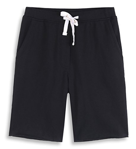 HARBETH Men's Casual Soft Cotton Elastic Fleece Jogger Gym Active Pocket Shorts Black M