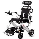 Equipo diario Silla de ruedas eléctrica liviana con reposacabezas Plegable plegable y silla eléctrica portátil liviana Sillas de ruedas seguras y fáciles de conducir Armazón de aleación de aluminio
