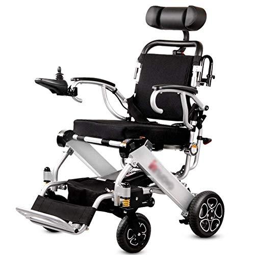 WXDP Eléctrica ligera autopropulsada con reposacabezas, plegable y ligera, silla de paseo portátil, segura y fácil de conducir, marco de aleación de aluminio de grado aeronáutico, p