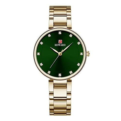 JIADUOBAO Reloj de pulsera de cuarzo para mujer con correa de acero inoxidable, reloj de pulsera para mujer y mujer, regalo para mujer (color dorado y verde en caja)