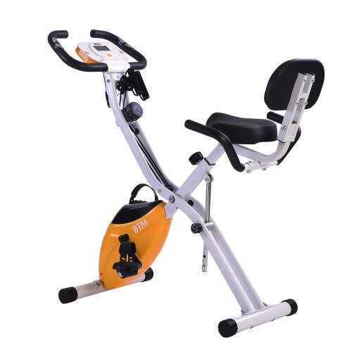 G500 Bicicleta de ejercicio plegable para interior y entrenamiento de cardio en casa, con volante y bandas de resistencia de brazo (naranja + metal)