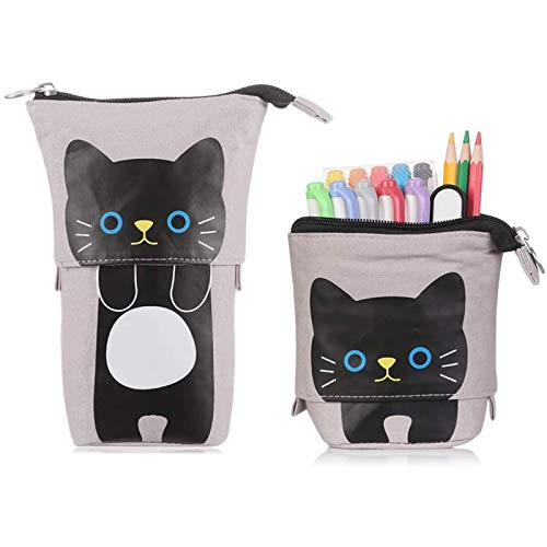 ECHG Soporte para lápices de pie, estuche telescópico de dibujos animados con lindo gato, estuche de lona para lápices, para niños, niñas, estudiantes y suministros de oficina (gris)