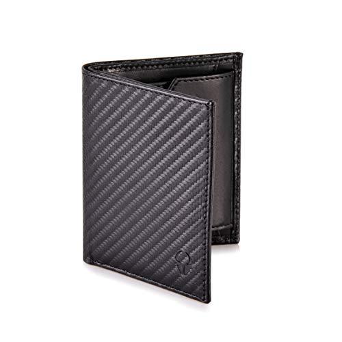 DONBOLSO® Rom I Mini Geldbörse mit RFID-Schutz I Slim Wallet mit Münzfach I echtes Leder I Geldbeutel in Carbonoptik