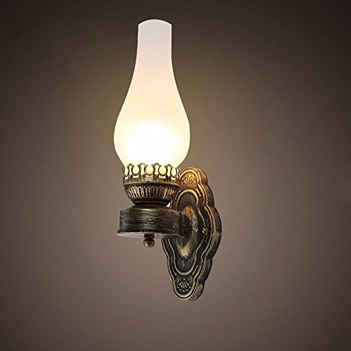 Classic Messing antik Petroleumlampe geformt 1 Licht Glas innen Wandleuchte Wandleuchte