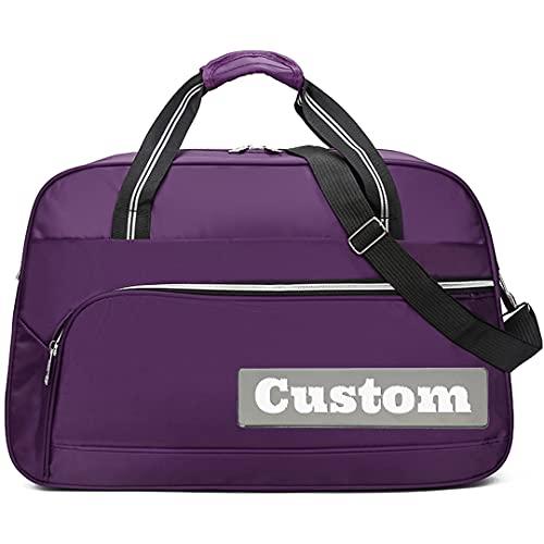 Nombre Personalizado Bolsa de Lona de Nylon de Viajes de Viajes de Nylon para Hombres a Prueba de Agua (Color : Purple, tamaño : One Size)