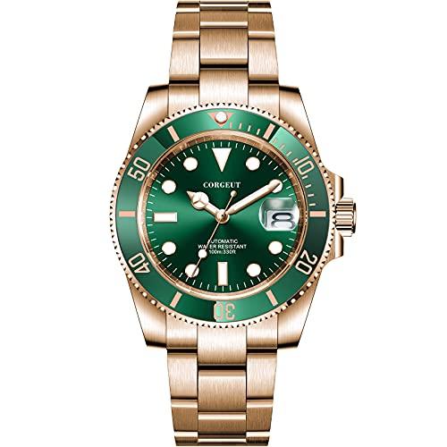 Mechanische Herren-Armbanduhr mit automatischem Uhrwerk, Rotgold, Edelstahl, selbstaufziehend, mit Datum, japanisches Uhrwerk