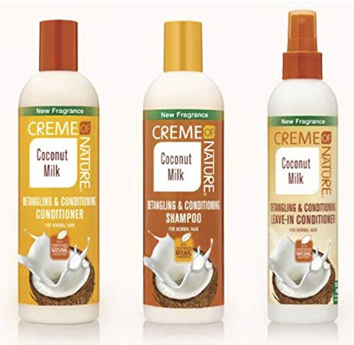 Crème Of Nature - 3er-Set mit Shampoo + Spülung + Leave-In-Spülung - mit Kokosmilch