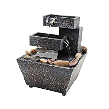 WOLUNWO Tabletop Fountain Desktop Small Water Fountains Indoor Waterfall Fountain Mini Waterfall with Irregular Stones for Indoor Home Office Table Decoration Battery Operated