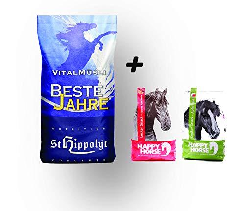 St. Hippolyt Vitalmüsli Beste Jahre 20 kg und wir schenken Ihrem Pferd 2 x 1 kg Happy Horse Lecker Snacks