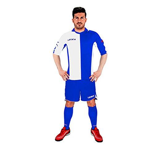 Legea kit Sardegna Herren Jungen Fußball Trikot Shirt Short Hosen Klein Armel Hallenfußb (M, BLAU-Weiss)