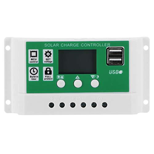 Omabeta Controlador de Carga Solar LCD Regulador Inteligente de Panel Solar Ajustable 10A 12V 24V MPPT Regulador de Carga Accesorio