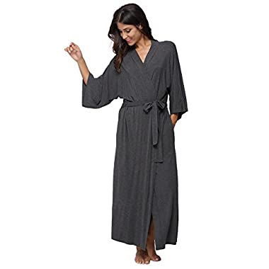 KimonoDeals Women's Soft Sleepwear Modal Cotton Wrap Robe Long, Grey XL