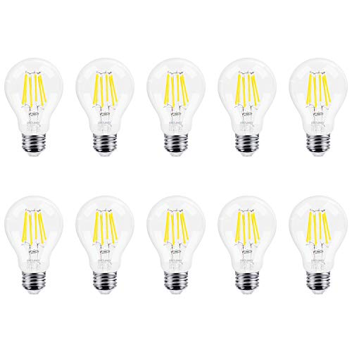 DiCUNO Dimmable Vintage Edison Filament LED Bulb 6W (60W Halogen Equivalent), Daylight White 4500K 700 Lumens, Medium E26 Base A19/A60 Clear Glass Antique Edison Light Bulb 10-Pack