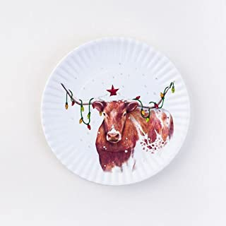 Christmas Longhorn Steer Appetizer Melamine Plates, Set of 4