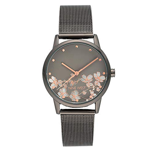 Nine West Women's Gunmetal and Silver-Tone Mesh Bracelet Watch, NW/2429FLGY