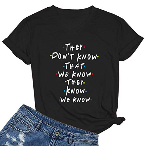 MIMOORN Women V Neck Graphic Funny Cute T Shirt Tops Tee Black Medium